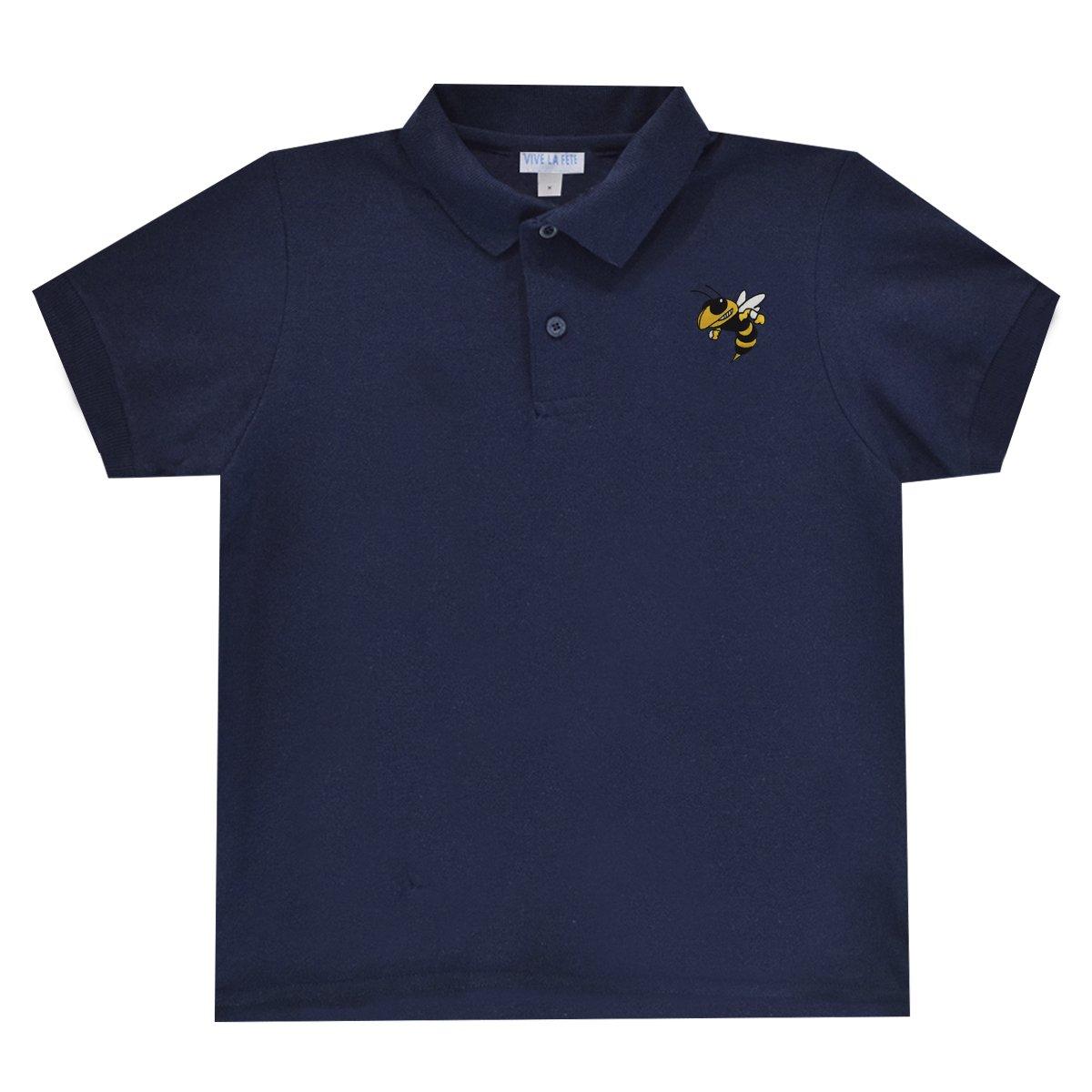 Georgia Tech Yellow Jackets Navy Polo Box Shirt Short Sleeve by Vive La Fete by Vive La Fete Collegiate