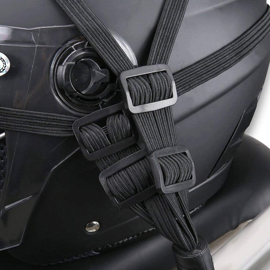Noir Motocyclette Bagages Casque Corde /Élastique R/étractable Sangle /Élastique R/étractable Casque Moto Bagages Corde avec 2 Crochets