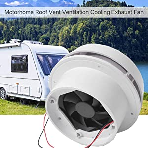 Exhaust Cooling Fan - MASO Car 12V RV Motorhome Roof Vent Ventilation Cooling Exhaust Fan Noiseless Energy-saving for Homes Trailer Travel Caravan (Fan Shell + Strong Fan)
