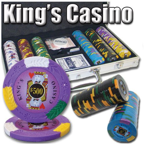 (300 Ct King's Casino 14 Gram Clay Poker Chip Set w/ Aluminum Case)