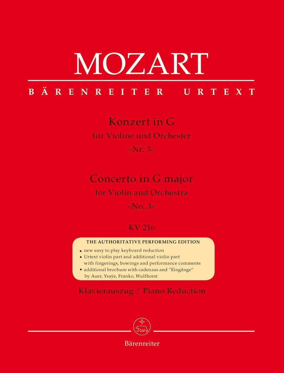 Konzert für Violine und Orchester Nr. 3 G-Dur KV 216. BÄRENREITER URTEXT. Klavierauszug, Stimme, Urtextausgabe