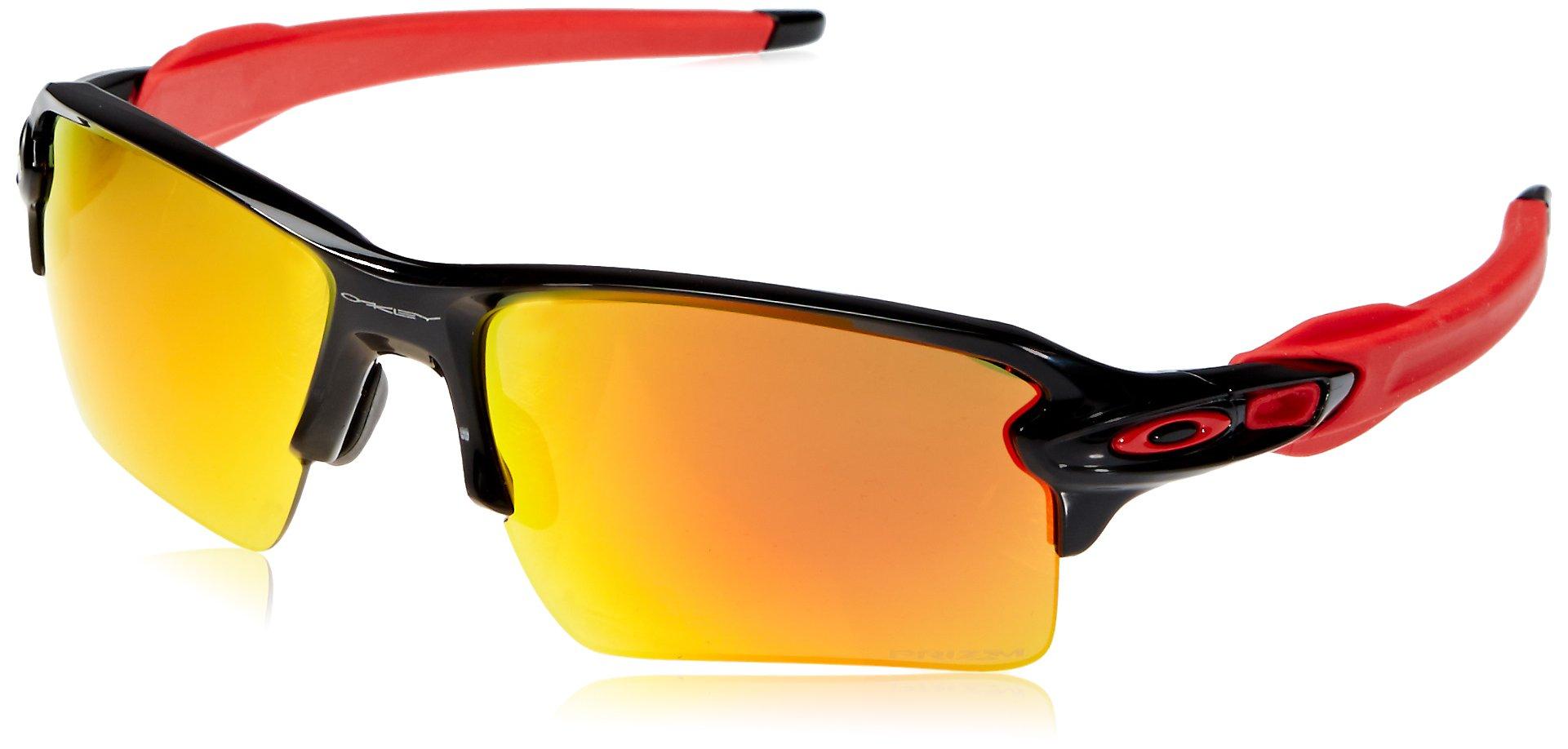 Oakley Men's Flak 2.0 XL Non-Polarized Iridium Rectangular Sunglasses, POLISHED BLACK, 59.0 mm