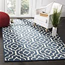 Safavieh Cambridge Collection CAM141G Handmade Moroccan Geometric Navy Blue and Ivory Premium Wool Area Rug (5' x 8')