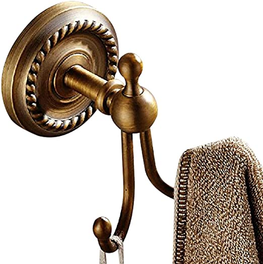 Antique Brass Double Robe Hook Hanger Bathroom Hardware Bath Accessory aba491
