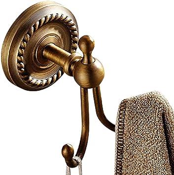 Leyden Antique Brass Towel Hooks Bathroom Double Robe Hooks Brushed Brass Coat Hanger Hanging Towel Wall Mounted Amazon Com