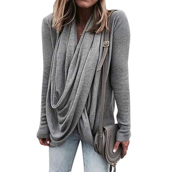 XuBa Camisa Camiseta Suéter Sudadera Casual Mujer Cuello Alto de Moda de  Manga Larga de Estilo 2853074e2eac
