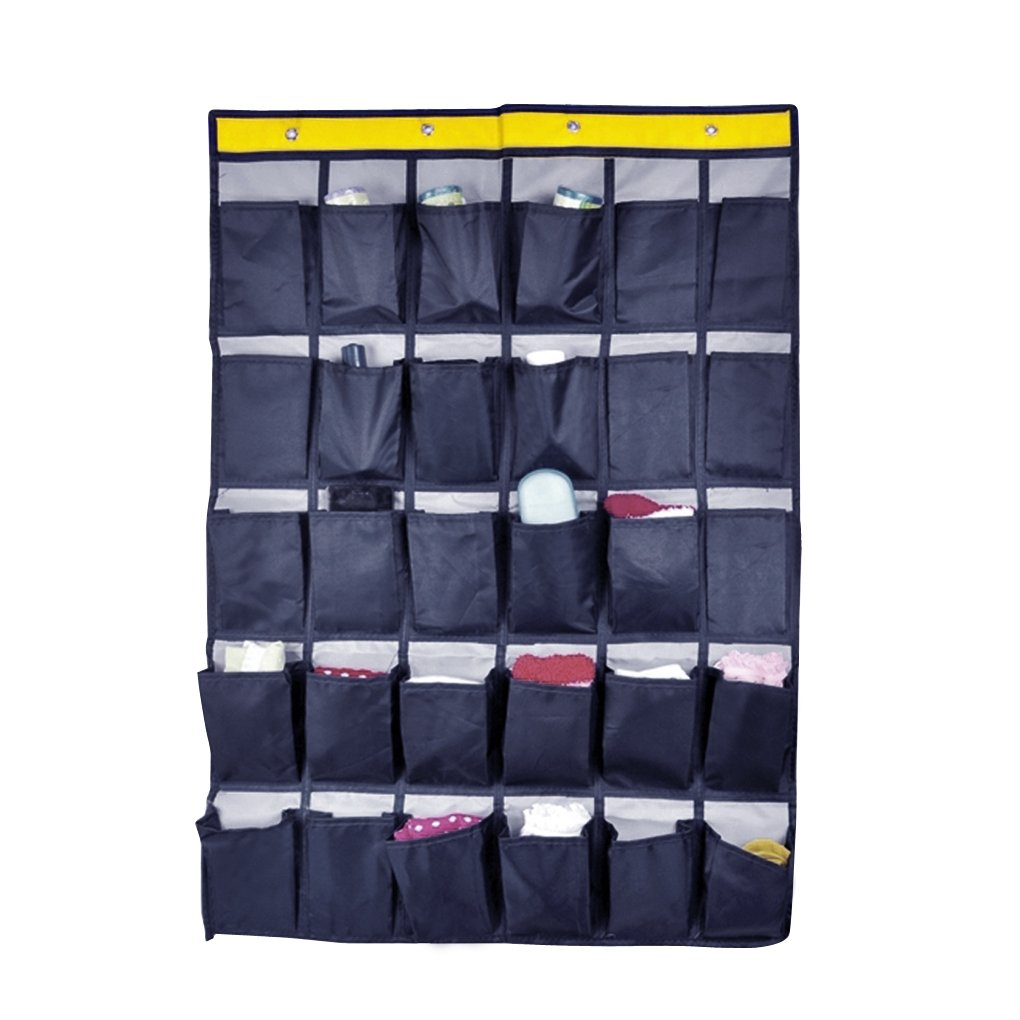 Over Door Hanger Wall Door Hanging Storage Wardrobe Organizer Shoes Underwear Socks Organizer Home Sundry Daily Supplies Storage Pouch with 30 Pockets (navy)
