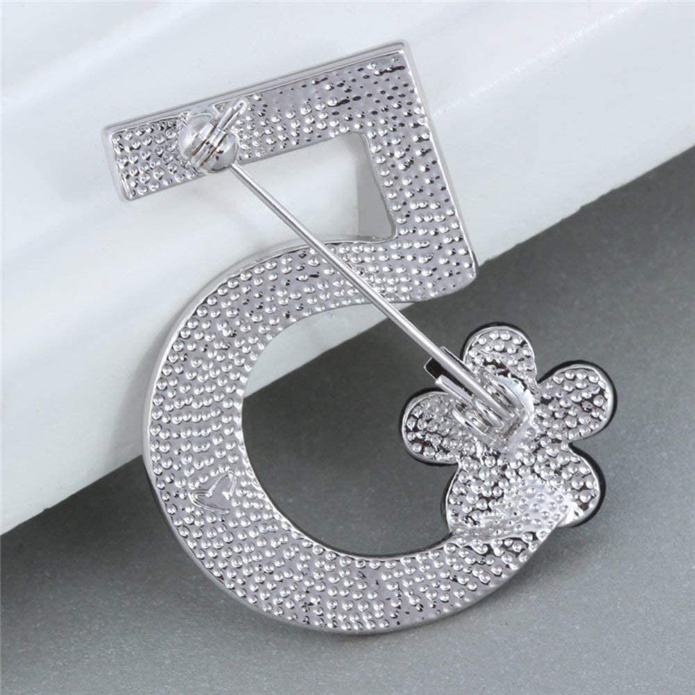 Brooch Pin Number Five Pin Brooch Corsage Scarf pin Rhinestones Breastpin for Wedding//Banquet//Bouquet