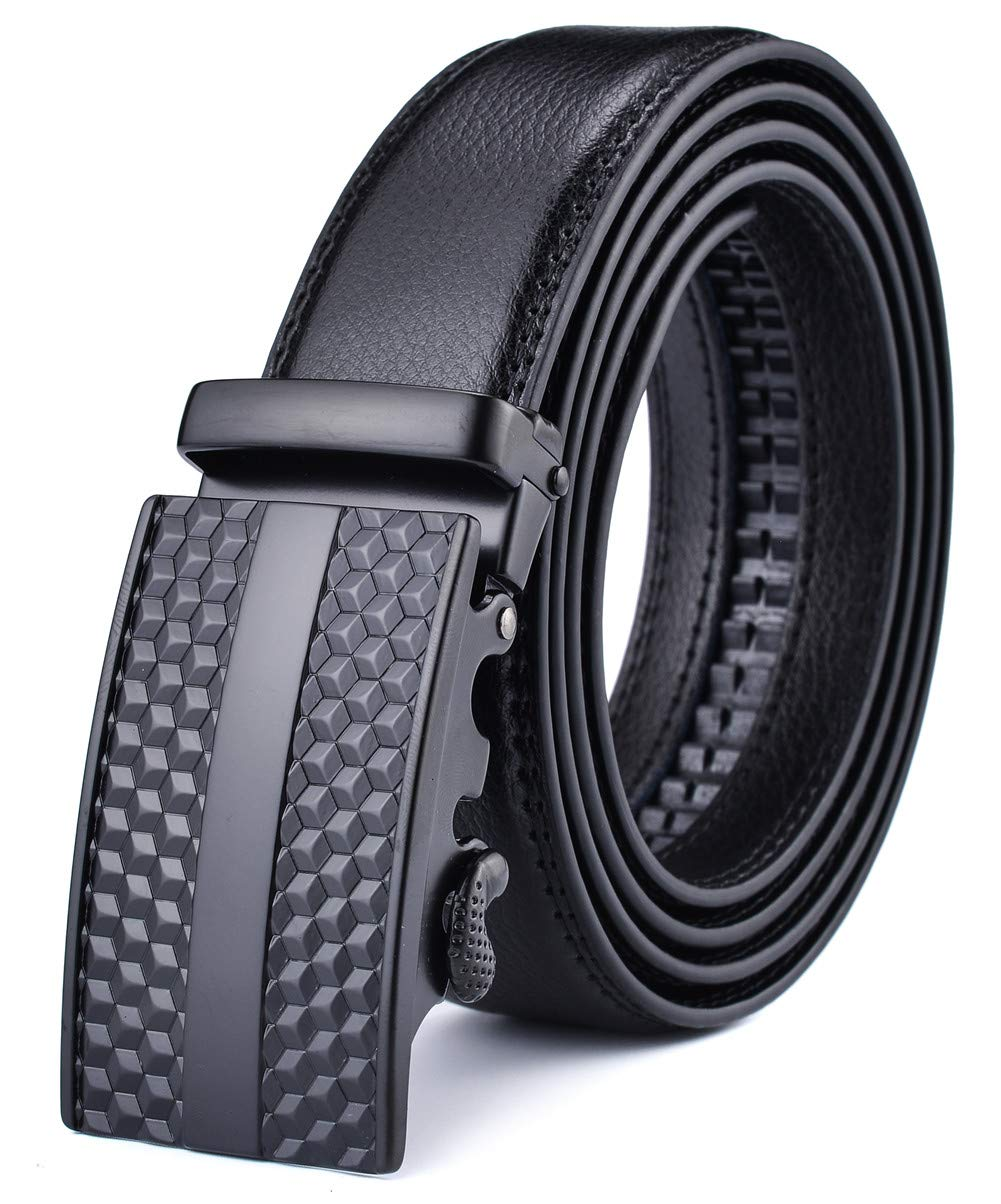 Xhtang Men's Solid Buckle with Automatic Ratchet Leather Belt M