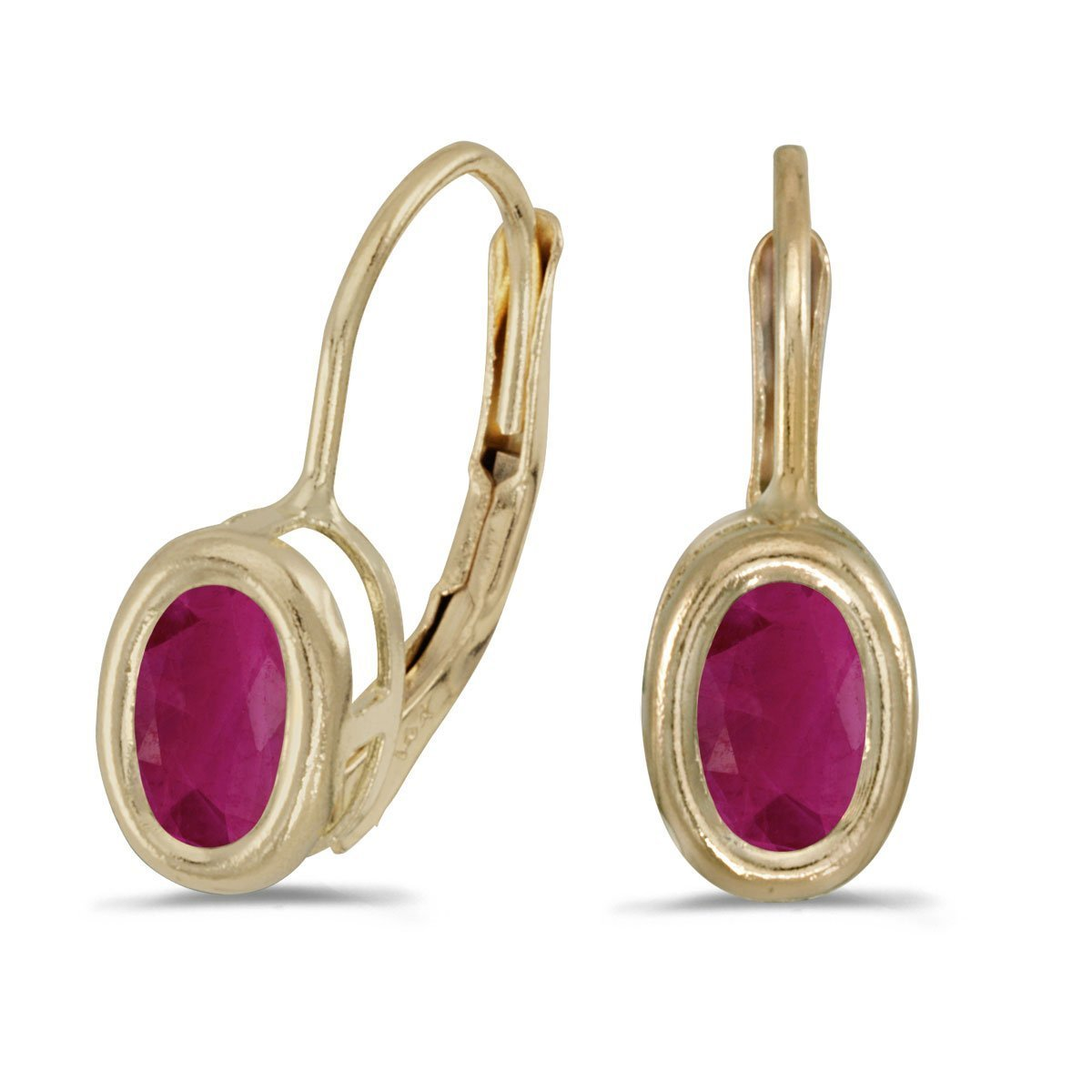 FB Jewels Solid 14k Yellow Gold Studs Genuine Red Birthstone Oval Ruby Bezel Lever-back Earrings (0.72 Cttw.)