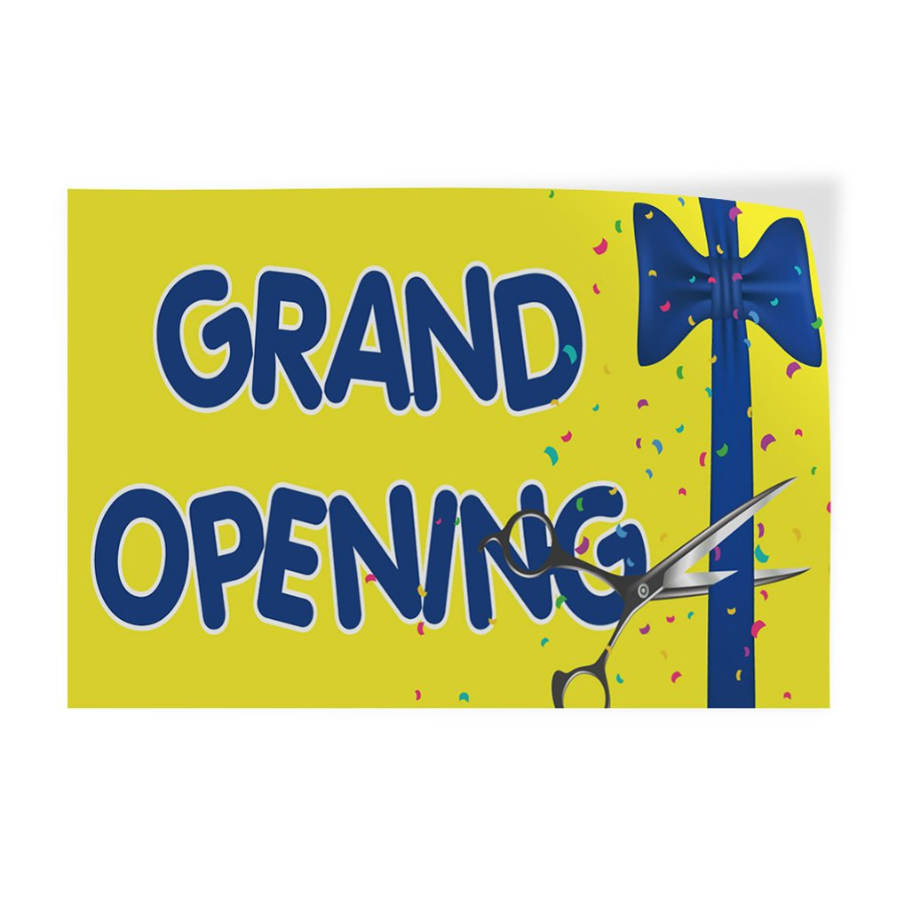 Decal Sticker Multiple Sizes Grand Opening #3 Style B Business Starting Sign Outdoor Store Sign Yellow Set of 10 30inx20in