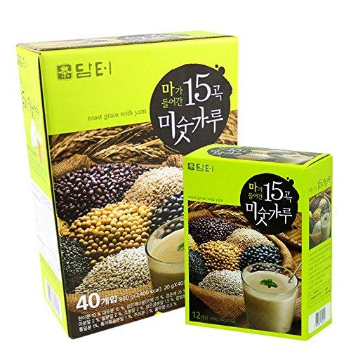 DAMTUH 15 Roasted Grains Mixed Powder Breakfast Drink 40pcs+12Pcs, KOREAN Misugaru, Meal Replacement