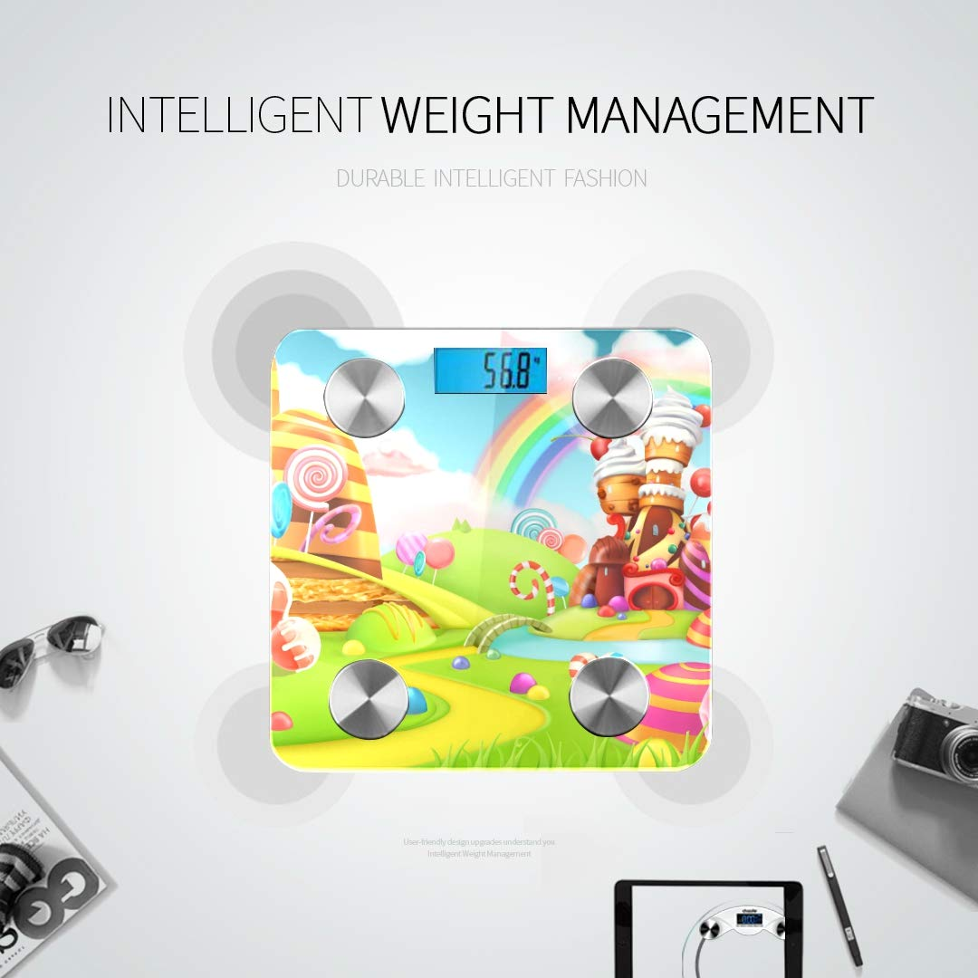 Bluetooth Smart Weight Digital Scale Sweet Candy Land Cartoon Game Digital Body Analyzer Scale Body Fat Composition Monitor Analyzer with Smartphone App for Body Management-396lbs by AIKENING