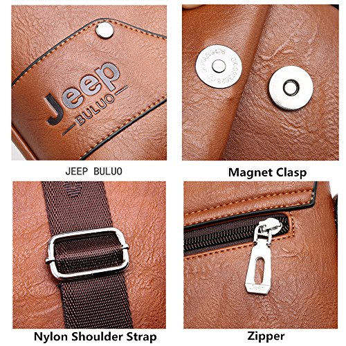 JEEP BULUO Leather Messenger Bag For Men (Black) by JEEP BULUO (Image #7)
