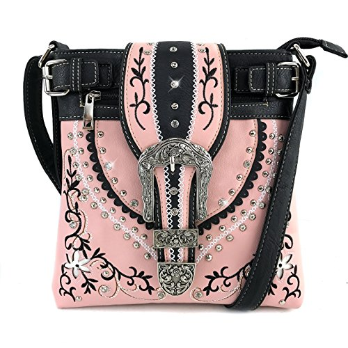 Trifold Handbag Tooled Carry Wallet West Buckle Messenger Tritone Bag Embroidered Laser Messenger Vines Leaves Crossbody Only Concealed Justin Flower Pink Flower Cut agvAZax
