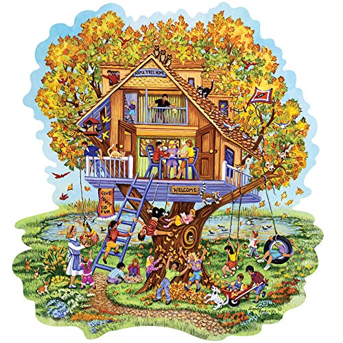 Bits and Pieces - 750 Piece Shaped Jigsaw Puzzle for Adults - Home Tree Home - 750 pc Fall Treehouse Jigsaw by Artist Sandy Rusinko