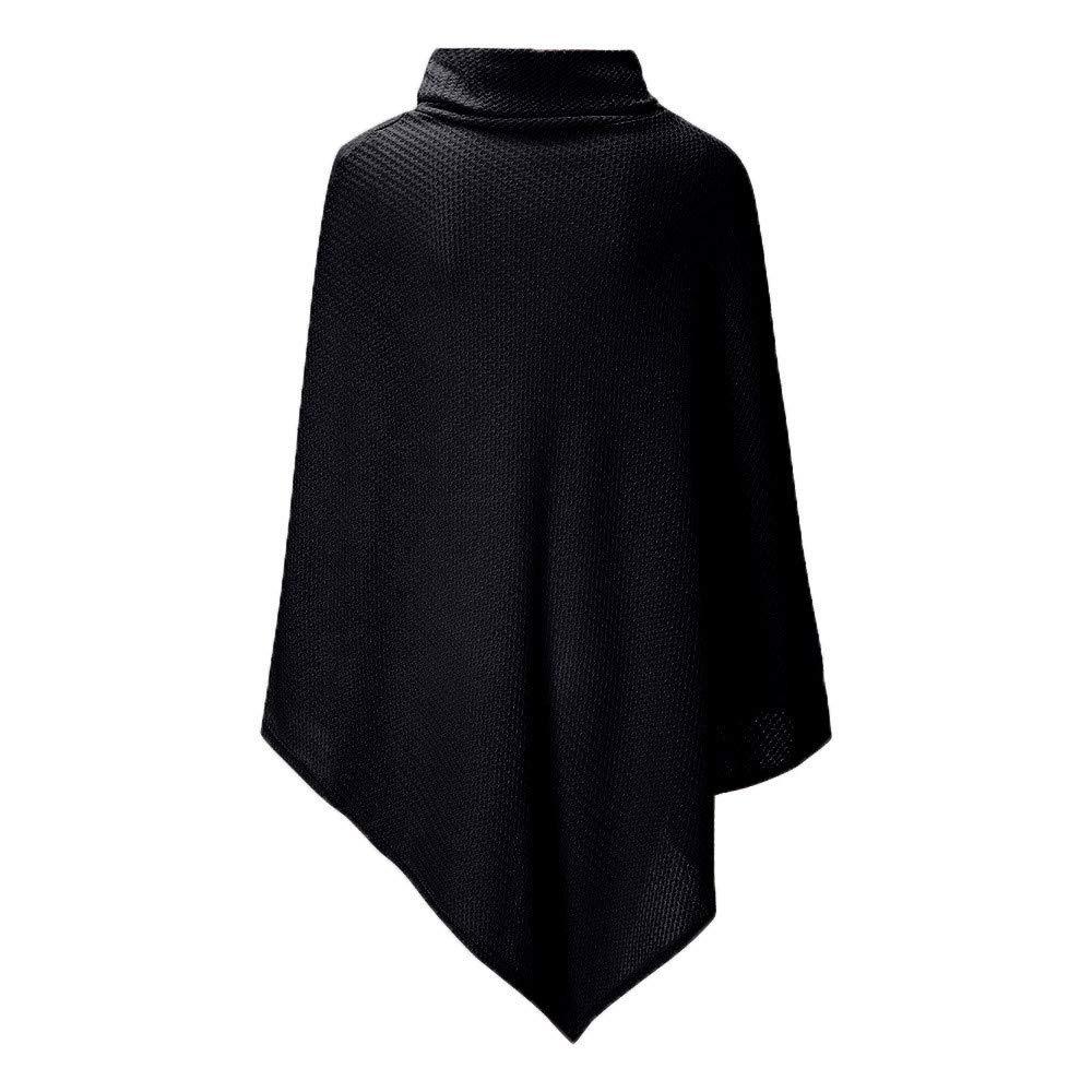 ZORE Mujer de Punto Tortuga Poncho Cuello con botón Dobladillo Irregular suéteres suéter Women Sweater: Amazon.es: Ropa y accesorios