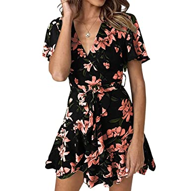 717e386261 Women Floral Summer Short Sleeve Sexy V Neck Ruffle Belted Skater Dress  Black S