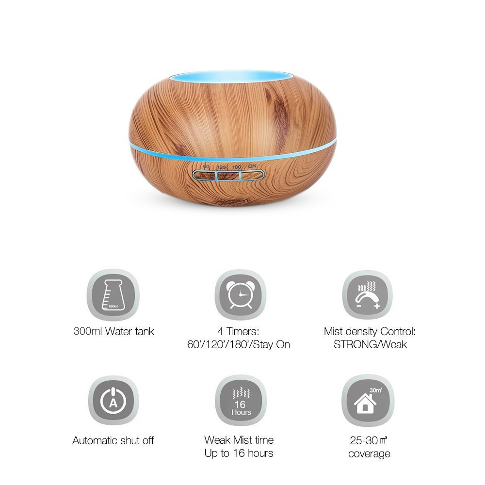 Amgaze Humidifier 300ml Cool Mist Ultrasonic Aroma Essential Oil Diffuser with 7 Color LED, 4-Time Setting, Adjustable Mist Mode and Waterless Auto -Off for Home Office Baby Use (Wood Grain) by Amgaze (Image #3)