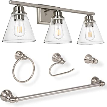 3 Light Vanity Light Fixture 5 Piece All In One Bathroom Set E26 Bulb Base Brushed Nickel Wall Sconce Lighting With Glass Shads Etl Listed Bulb Not Included Amazon Com