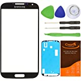 Freeshipping Black New Front Outer Lens Glass Replace Screen Cover For Samsung Galaxy S4 SIV I9500 i337 L720 M919 i545+Adhesive+Tools
