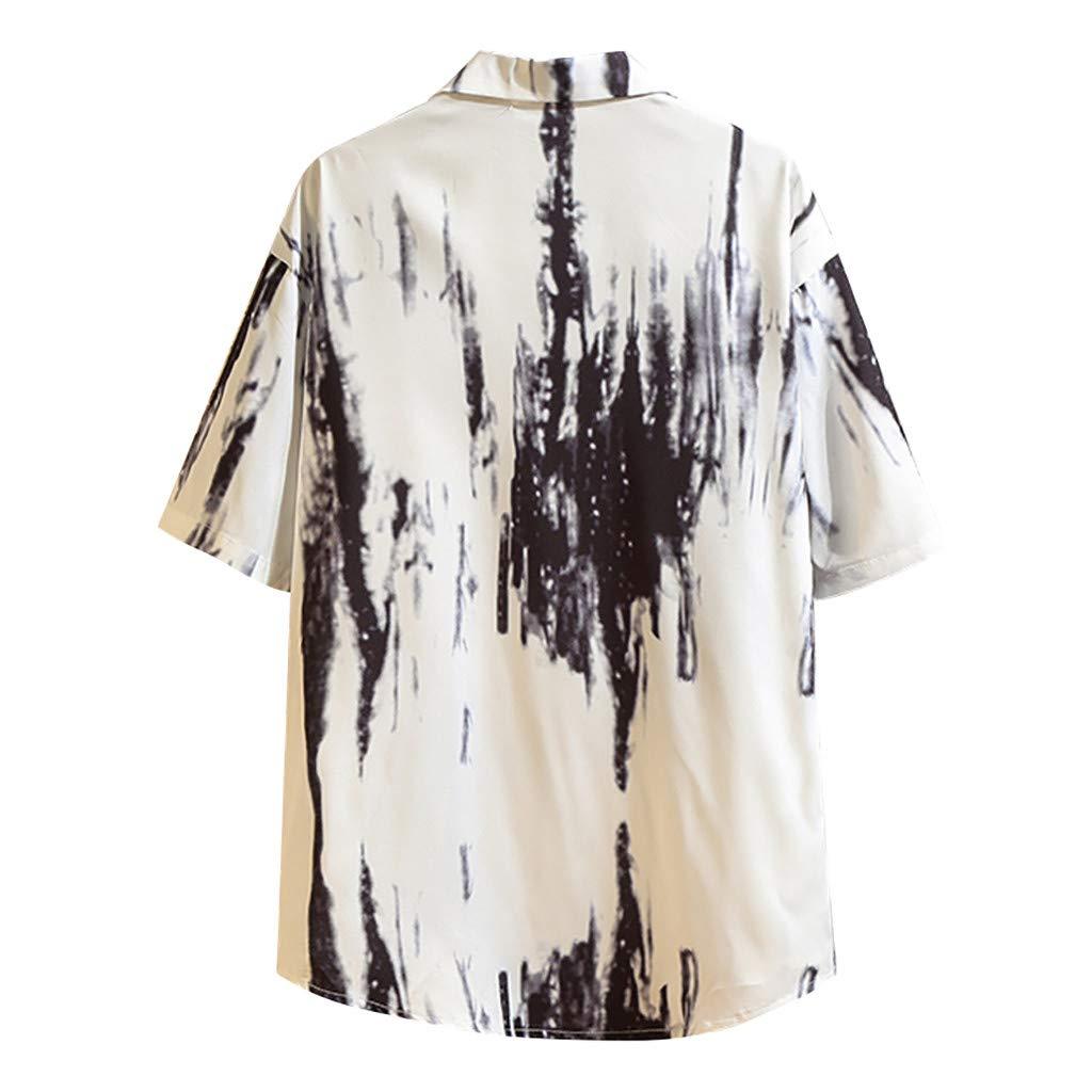 lotteQW Mens Summer Casual Fashion Printing Loose Short Sleeve Lapel Shirt Tops Blouse Men Shirts Short Sleeve Big and Tall