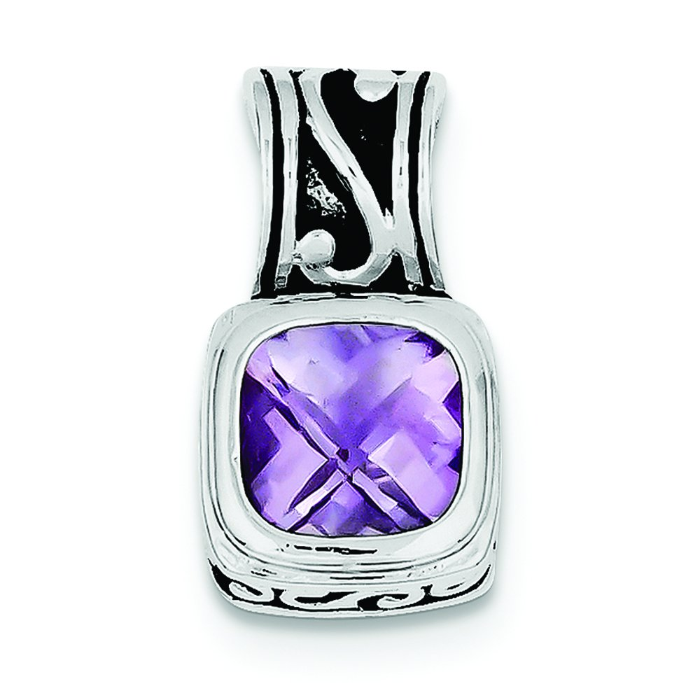 Pendants Accessories and Fashion Charms .925 Sterling Silver Antiqued Amethyst Charm Pendant