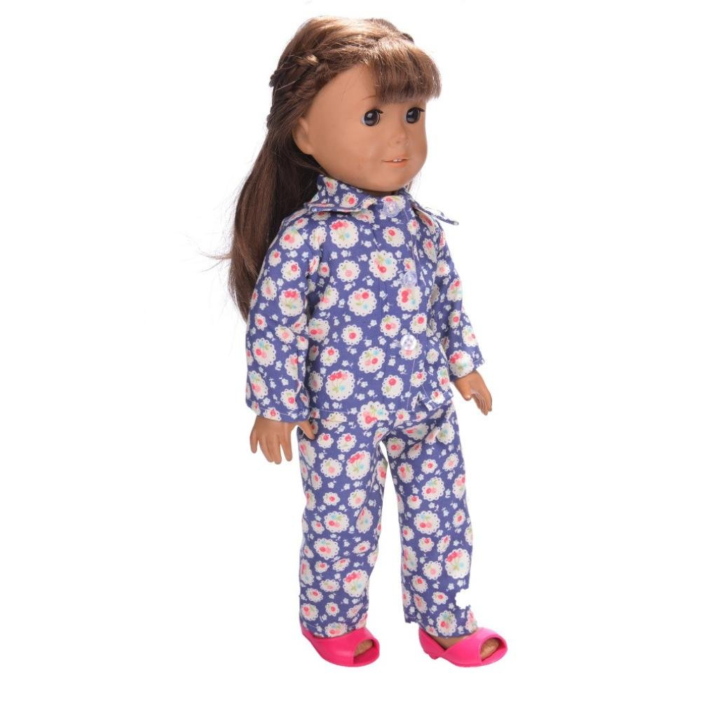 34f9c20770bb Amazon.com  DATEWORK Cute Pajamas Nightgown Sleepwear Clothes for 18 inch  Our Generation American Girl Doll (F)  Toys   Games