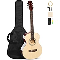 ARTALL 39 Inch Handmade Solid Wood Acoustic Dreadnought Guitar Beginner Kit, Glossy Red