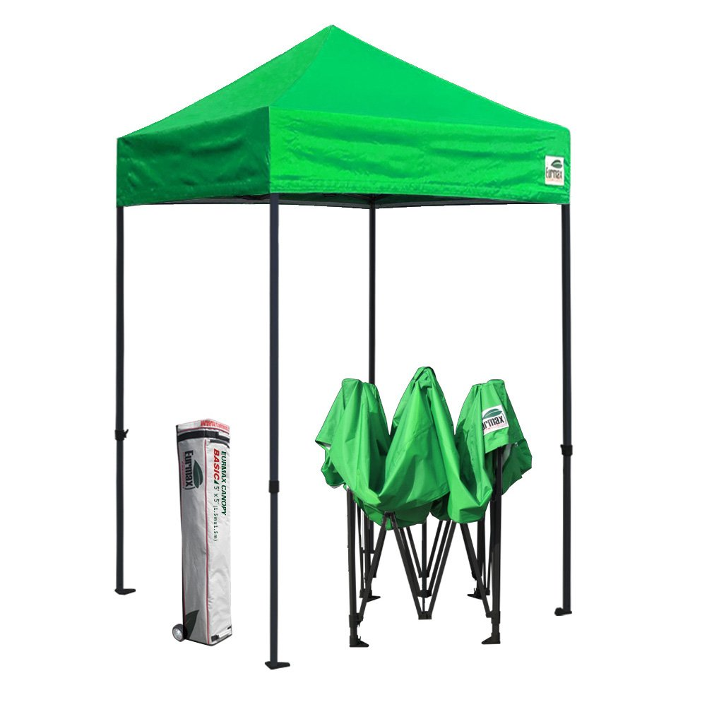 Eurmax 5x5 Ez Pop up Canopy Outdoor Heavy Duty Instant Tent Pop-up Canopies Sun Shelter with Deluxe Wheeled Carry Bag (Kelly Green)
