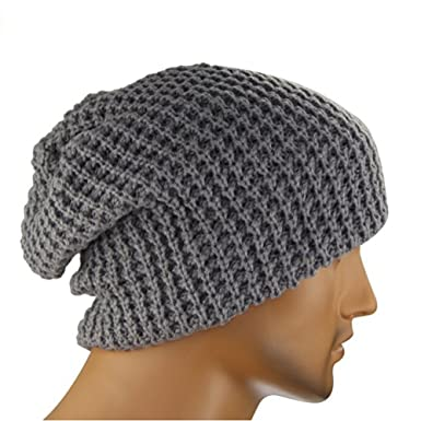 Veewon Mens Slouchy Long Beanie Knit Cap For Winter Oversize Grey