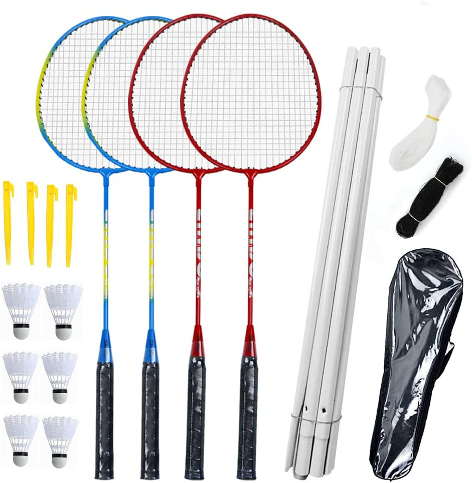 Portable Outdoor Badminton Combo Set for Family Backyard Beach Game VAHIGCY Badminton Set with 4 Rackets Rackets