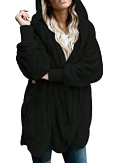Dokotoo Womens Fuzzy Open Front Hooded Cardigan Jacket Coat Outwear with  Pocket a740f9cd0