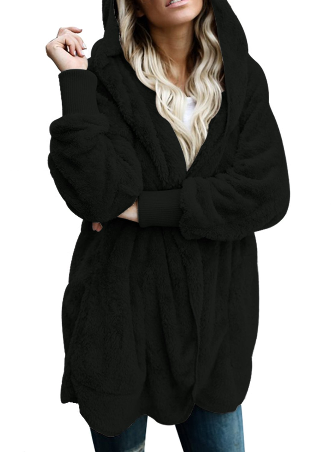 Dokotoo Womens Plus Size Fashion Ladies Fuzzy Winter Fall Open Front Long Sleeve Fluffy Hoodies Fleece Cardigan Sweater Jacket Coat Outwear Black XX-Large