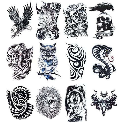 12 Sheets Temporary Tattoos Stickers, Fake Body Arm Chest Shoulder Tattoos for Men free shipping vZoU8ipm