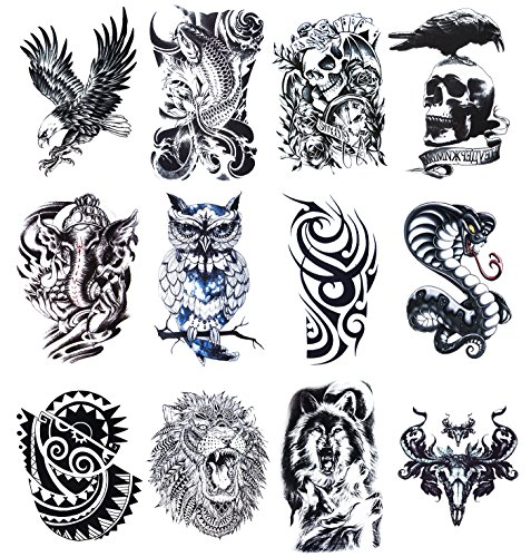 12 Sheets Temporary Tattoos Stickers, Fake Body Arm Chest Shoulder Tattoos for Men