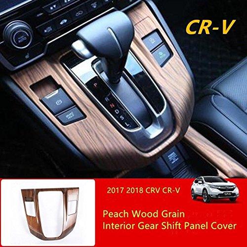 Flash2ning for Honda CRV CR-V 2017 2018 2019 Peach Wood Grain Interior Gear Shift Panel Cover
