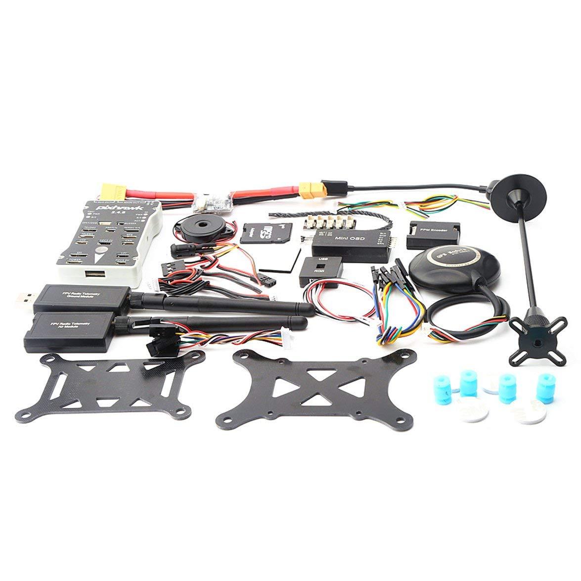 Kongqiabona Pixhawk PX4 PIX 2.4.8 500MW Flight Controller mit Telemetrie + M8N GPS + Mini OSD + PM + Sicherheitsschalter + Summer + PPM + I2C für RC-Drohne