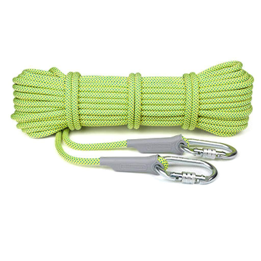 Vert fluorescent12mm AMENZ Extérieur Escalade Corde, Alpinisme Sauvetage Corde Corde de sécurité, Corde Auxiliaire pour Escalade Descente en Rappel 20m