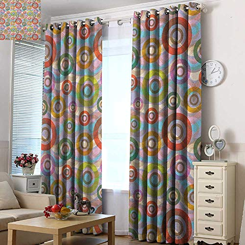 Acelik Thermal Insulating Blackout Curtains Retro Hippie Style Punk Sixties Circles Ring Shapes Round in Colors Various Weathered Tones Grommet Curtains for Bedroom 120