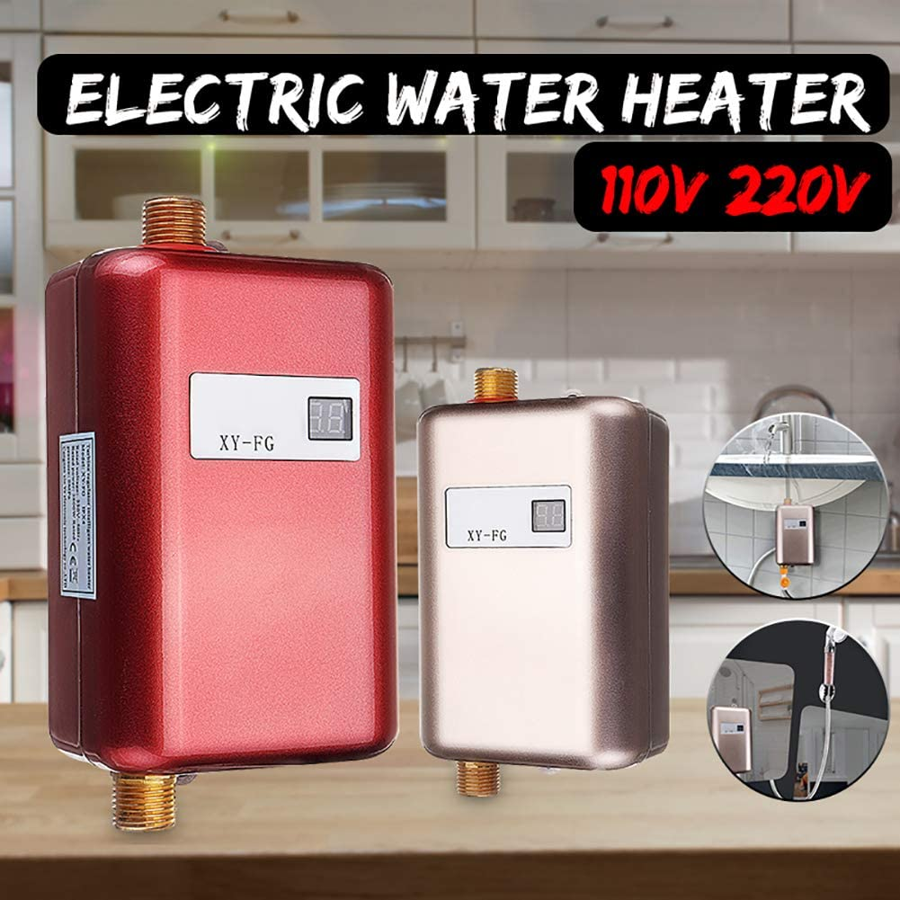 At27clekca 3800W 110V//220V Instant Water Heater Electric Hot Tankless Heater Mini Size for Bathroom Home Kitchen