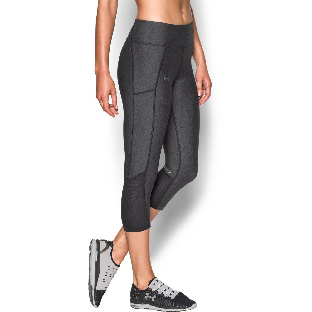 Under Armour Women's Fly-By Capri,Carbon Heather (090)/Reflective, X-Small
