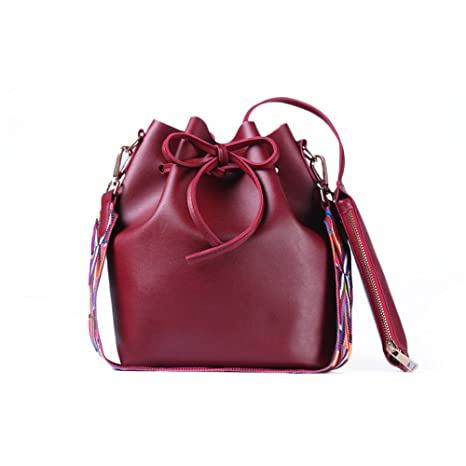 6b159f4fbe SMARTRICH secchio borsa da donna in pelle PU con cinturino colorato, donna borsa  secchiello Crossbody
