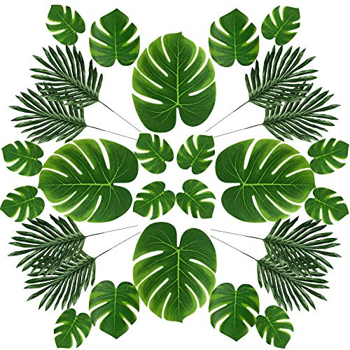 LEAFBABY 48 PCS 2 Kinds 4 Sizes Artificial Fake Lifelike Simulation Tropical Palm Leaves for Home Kitchen Party Decorations]()