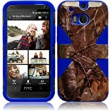 Cell Accessories For Less (TM) For HTC One M8 Dynamic Slim Hybrid Cover Case - Camouflage+Blue + Bundle (Stylus & Micro Cleaning Cloth) - By TheTargetBuys