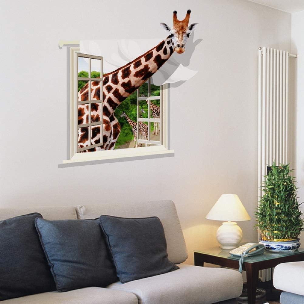 SWORNA Animal Series SN-73 3D Giraffe from Window Children Kids Baby Vinyl Removable DIY Wall Art Sticker Decor Decal Nursery Home Living Bedroom Classroom Playroom Kindergarten Hallway 31H X 30W