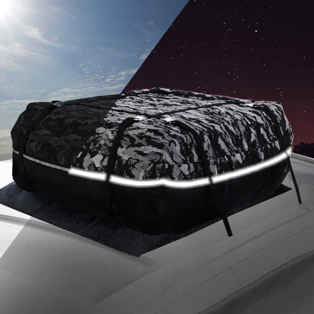 YOULERBU Roof Bag & Rooftop Cargo Carrier Bag with Reflective Fabric Waterproof Cargo Bag with Metal Buckles Fit for Cars with/Without Racks 17 Cubic Feet by YOULERBU