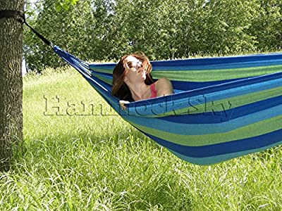 Hammock Sky Brazilian Hammock - Two Person Double for Backyard, Porch, Outdoor or Indoor Use - Portable for Camping - Soft Woven Cotton Bed for Supreme Comfort