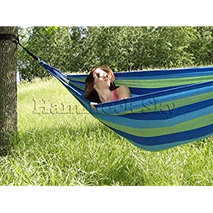 Hammock Sky Brazilian Double Hammock – Two Person Bed for Backyard, Porch, Outdoor and Indoor Use – Soft Woven Cotton Fabric