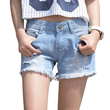 ca6af690d2 JudyBridal Womens Oversize Jean Shorts Plus Size Ripped Girls Distressed  Denim Shorts Blue M